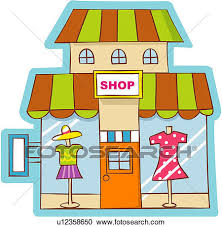 Clipart Of Commercial Facility Clothing Store Industry Modern