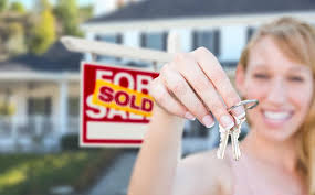 Download Excited Woman Holding House Keys And Sold For Sale Real Estate S Stock Image