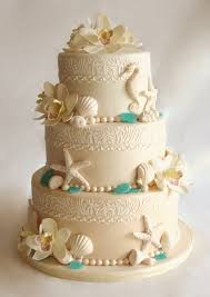 Beach Wedding Cake This Three Tier Was Covered In Ombre Beige Fondant The