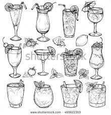 Sketch Cocktails Alcohol Drinks Set Hand Drawn Vector Illustration Martini Bloody Mary