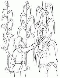 Harvesting The Corn Field Printable Kids Coloring Sheet Ideas