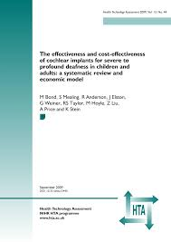 PDF The effectiveness and cost effectiveness of cochlear implants