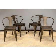 Rustic Gunmetal Dining Chair With Dark Elm Wood Tops Set