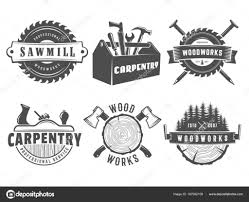 Woodwork Logos Vector Badges For Carpentry Sawmill Lumberjack Service Or Shop Set Of Vintage Labels With Hand Tools By NihilArt