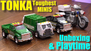 Toy Cars For Toddlers And Kids: TONKA Toughest Minis Police Truck ... Toy Trash Trucks In Action Garbage Truck With Side Arm Best Kids Playing Pictures Dickie Toys Walmartcom Videos For Children Unboxing Tonka Mighty Dumpster Worlds Recycling Waste Youtube Amazoncom 12air Pump Vehicle For Green Kawo Jack Bruder Video Gym Pickup Front Loader