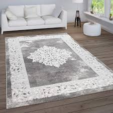paco home teppich wohnzimmer vintage kurzflor orientalische muster ornamente bordüre modern grösse 120x160 cm farbe grau