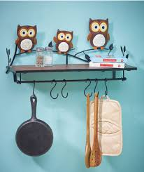 3D Owl Kitchen Wall Shelf Paper Towel Holder Bird Decor Metal Pot