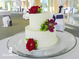 Two Tier Wedding Cake On Outdoor Patio