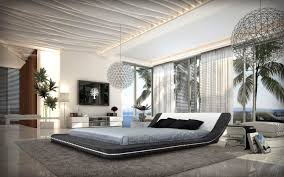 contemporary eco leather platform bed w led lights
