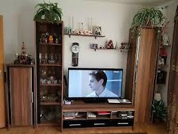 wohnwand anbauwand wohnzimmer schrankwand b310 h195 cm nuss