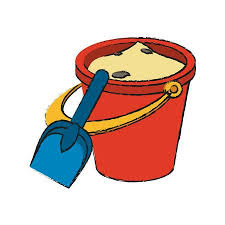 Colorful Sand Bucket And Shovel Doodle Over White Background Vector Illustration