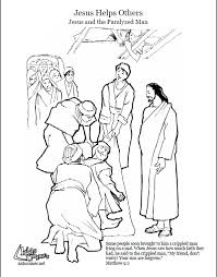 Jesus Heals Coloring Page Audio Bible Story And Script Available At Paralyzed ManJesus