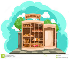 Bakery shop Illustration of landscape bakery shop Stock