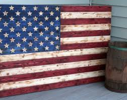 Rustic Wooden American Flag Carved Sign