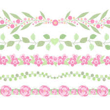 Flower Border Clipart Clip Art Digital Floral Commercial Use
