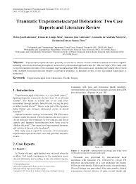 si e orthop ique traumatic trapeziometacarpal dislocation pdf available