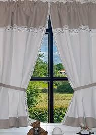 landhaus gardinen set 100 leinen 2 st 2 bindebänder weiß grau mit spitze 140x80cm gesamt 160cm breit greta