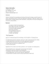 Server Resumes Examples Serving Resume Of Catering
