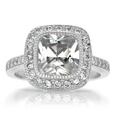 Fake Engagement Rings Dont Have To Look Dull And Cheap Our Ginas Vintage Style Halo Cushion Cut CZ Ring