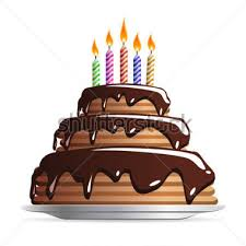 sweet chocolate wedding or birthday cake with color candles icon clipart