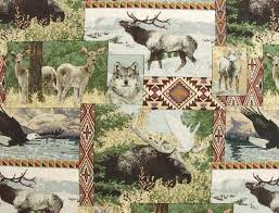 Yukon Rustic Outdoor Fabric Showing Animals Like Elk Moose Wolf And Bear