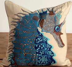 Sunland Home Decor Catalog by Embroidered Seahorse Pillow Blue Beach Decor Coastal Home