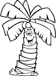 Smile Palm Tree Coloring Page