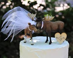 Wedding Cake Moose Topper Woodland Animal Hunting
