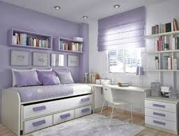 Adorable Teen Bedroom Design Idea for Girl with Soft Purple White