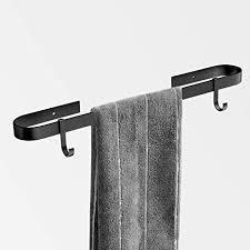qeekzeel handtuchhalter bad ohne bohren handtuchstange selbstklebend handtuchring aluminium schwarz eloxiert mit 2 haken für badezimmer und küche