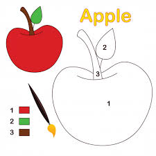 Apple Color By Number Coloring Page