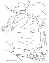 A Cartoon Cable Car Coloring Pages
