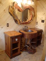 Interesting Rustic Bathrooms Decors Views With Teak Root Single Sink Base Recycled Drawers Cabinets Wooden Materials As Well Log Wood Mirrors In Old