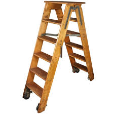 furniture good custom wooden library ladder with metal frame and