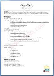 Resume Respiratory Therapist Examples Inside Sample