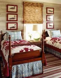 Designer Tom Scheerer Uses The Matchstick Shades Ive Been Talking About And What A Charming Twin Bedroom Love Mix Of Quilts Soft Blue Pattern