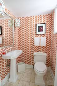 Coral Bathroom by Coral Pink Geometric Wallpaper Contemporary Bathroom