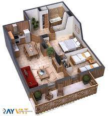 104 Two Bedroom Apartment Design Artstation 2 Floor Plan 3d Praveen Bharadvaj