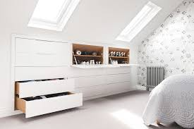 Fitted Wardrobes Built Into Loft Conversion Storage Drawer Units Shaker Style Doors And Drawers Pull Out Hanging Rails