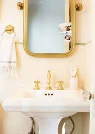 Restoration Hardware Mirrored Bath Accessories by Brady Gives A Refresh To His Vintage Bathroom Emily Henderson