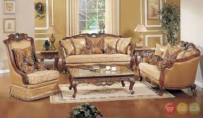 Exposed Wood Luxury Traditional Sofa & LoveSeat Formal Living Room