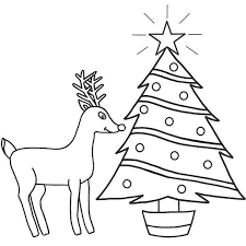 Rudolph The Red Nosed Reindeer And Christmas Tree Coloring Page