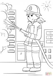 Girl Firefighter Coloring Page Printable Pages Click The To View Version Or Color It Online Compatible