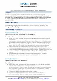 Service Coordinator III Resume Sample