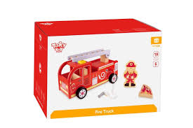 100 Fire Truck Kids New Childrens Tooky Toy TKF028 Wooden Engine