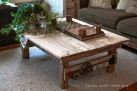 Junk Styled Pallet Wood Coffee Table By Funky Interiors