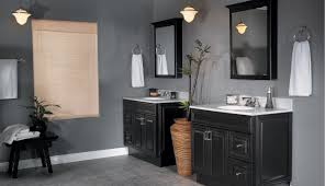 grey bathrooms ideas brown finish stained wooden open cabinet
