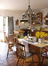 Country Dining Room Terracotta Floor With Wrought Iron Ceiling Lighting Fixture For French Decorating Ideas Rustic Solid Wooden