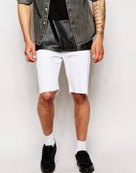 asos denim shorts in skinny with raw hem in white for men lyst