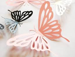 3D Paper Butterfly With Cut Outs Wall Sticker Room Decoration Baby Nursery In